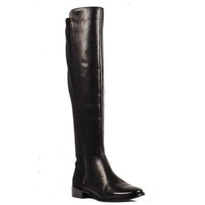 Tahari Clase Boots Black Leather Over The Knee